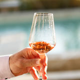 Swirling glass of rose wine at wine tasting. Concept of rose win. Swirling glass of rose wine at outdoor wine tasting. Concept of rose wine. Square royalty free stock images