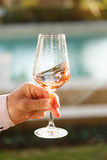 Swirling glass of rose wine at wine tasting. Concept of rose win. Swirling glass of rose wine at outdoor wine tasting. Concept of rose wine. Vertical stock image