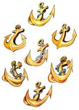 Swirling gold ships anchors Royalty Free Stock Images