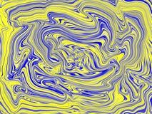 Swirling liquid yellow and dark blue pattern mixing. stock illustration