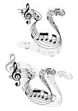 Swirling music score with musical notes Stock Photos