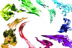 Swirling Rainbow ink frame Stock Images