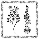 Swirling silhouette flower Frame floral Stock Photos