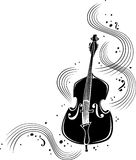 Swirling strings. A black and white embellishment featuring a double bass and swirling music stock illustration