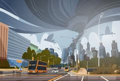 Swirling Tornado In City Destroy Buildings Hurricane Danger Huge Wind Waterspout Twister Storm Natural Disaster Concept. Flat Vector Illustration vector illustration