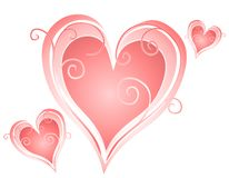 Swirling Valentine's Day Heart Designs 2 Royalty Free Stock Photo