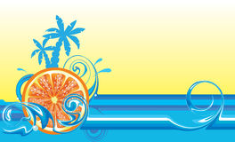Swirling wave design with orange Stock Image