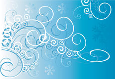 Swirls on blue background. Floral designs of swirls on blue background Stock Photos