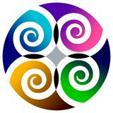 Swirls in circle. Isolated illustrated colourful ornamental design royalty free illustration