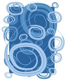 Swirls Circles Spirals Blue. A freeform abstract texture of light and dark blue swirls and spirals on a blue background stock illustration