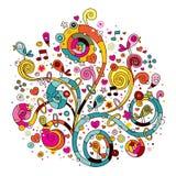 Swirls, flowers, hearts and birds Stock Image