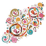 Swirls, flowers, hearts and birds Royalty Free Stock Photography