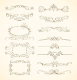 Swirls and frames. Set of vintage swirls and frames Stock Photos