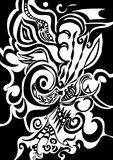 Swirls organic design. Digital illustration of swirls and scrolls ? white on black - clipping path included Stock Photo