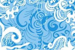 Swirls pattern. Digital illustration of swirls and scrolls ? pastel blue and white Stock Photo