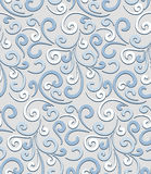 Swirls pattern. Abstract pale blue floral seamless pattern Royalty Free Stock Image