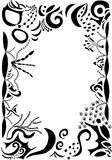 Swirls and scrolls border. Gothic swirls and scrolls border with word wisdom Stock Photos