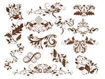 Swirls set. Set of decorative floral stylized patterns Royalty Free Stock Photo