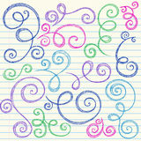 Swirls Sketchy Back to School Doodle Vector. Swirly Vines Sketchy Back to School Doodles- Notebook Doodle Vector Illustration Design Elements on Lined Sketchbook Royalty Free Stock Image