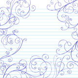 Swirls Sketchy Notebook Doodles Border. Vector Illustration of Hand-Drawn Swirls Sketchy Notebook Doodles Border Royalty Free Stock Images