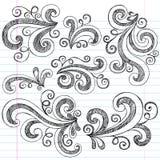 Swirls Sketchy Notebook Doodles Vector Set. Swirls Sketchy Doodles Hand-Drawn Back to School Notebook Vector Illustration Design Elements on Lined Sketchbook vector illustration
