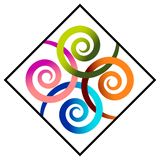 Swirls in square. Isolated illustrated design royalty free illustration