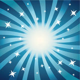 Swirls and Stars (Blue). Decorative Vector illustration of abstract swirls and stars against a blue background Stock Photo