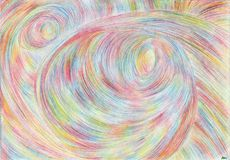 Swirls of time 2. Drawing is executed by multi-color pencils on paper.The image size is about A4 Royalty Free Stock Photography