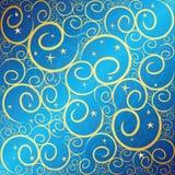 swirlstar blå guld Arkivfoton