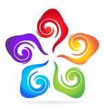 Swirly五颜六色的花名片 皇族释放例证