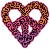 Swirly和平心脏 库存图片