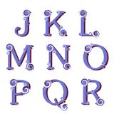 Swirly字母表,传染媒介 免版税库存照片