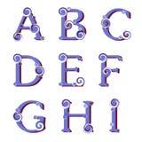 Swirly字母表,传染媒介 库存图片