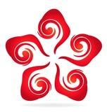 Swirly红色花名片 皇族释放例证