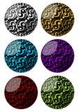 Σύνολο σφαιρών με swirly τη διακόσμηση σχεδίων στις διαφορετικές παραλλαγές χρώματος Στοκ φωτογραφίες με δικαίωμα ελεύθερης χρήσης