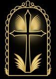 与金黄耶稣受难象的古典豪华埋葬在黑背景的装饰有金黄花卉装饰的和swirly元素 库存图片