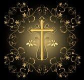 与金黄耶稣受难象的古典豪华悲哀的在黑背景的装饰有金黄花卉装饰的和swirly元素 免版税库存照片