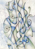 Swirly Background. Created with pencils and acrylic Royalty Free Stock Images