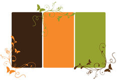 Swirly banner. Illustration of tree colour banner with swirls and butterflies royalty free illustration