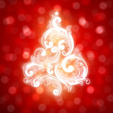 Swirly Christmas tree on bokeh background. Swirly Christmas tree on red bokeh background. Vector illustration Royalty Free Stock Photos