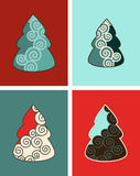 Swirly Christmas Trees. A background illustration featuring 4 Vector Christmas trees with swirls and scrolls in a patchwork design Royalty Free Stock Photos