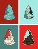 Swirly Christmas Trees Royalty Free Stock Photos