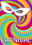 Swirly colorful carnival background in vivid cheerful colors with white carnival mask. Royalty Free Stock Image