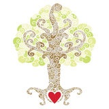 Swirly decorative tree with a red heart. Ornate decorative tree with a heart symbol at its roots Stock Photo