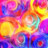Vibrant Watercolor Swirl Background Paper. A swirly digital watercolor paint background effect stock photography