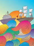 Swirly Drawn Ship_eps Royalty Free Stock Photos