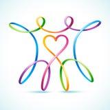 Swirly figura colorida par con el corazón stock de ilustración