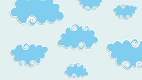 Swirly formade tecknad filmmoln med den popup animeringen för att betitla eller intro arkivfilmer