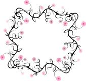 Swirly frame. Abstract illustration of the frame with swirls and flowers stock illustration