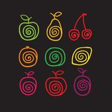 Swirly fruits Stock Photo